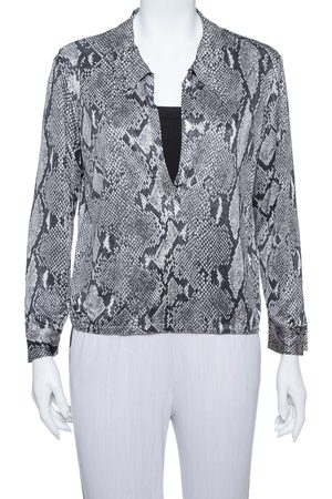 Gucci Grey Snakeskin Printed Jersey Long Sleeve Top M
