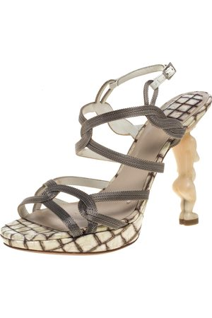 Dior Silver/White Chain And Leather Fertility Goddess Slingback Sandals Size 38