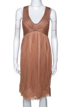 Stella McCartney Copper Silk Tulle Gathered Halter Neck Dress S