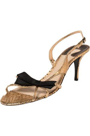 Chloé Rose Gold Snakeskin Slingback Sandals Size 41
