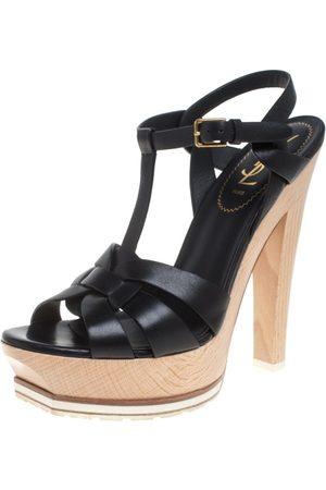 Saint Laurent Leather Tribute Wooden Platform Ankle Strap Sandals Size 38.5