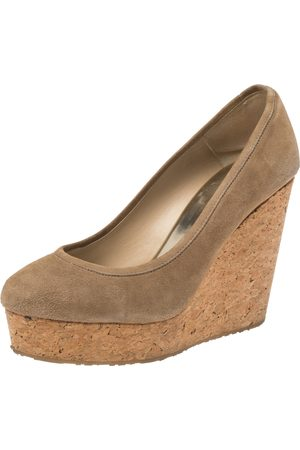 Jimmy Choo Beige Suede And Cork Wedge Platform Pumps Size 39