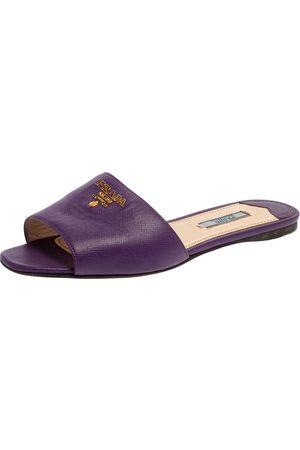 Prada Purple Saffiano Leather Logo Embellished Flat Slides Size 38.5