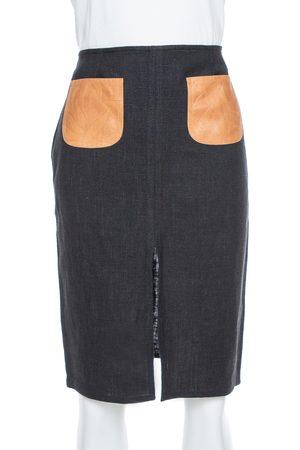 Dior Black Linen Blend Leather Pocket Detail Skirt M