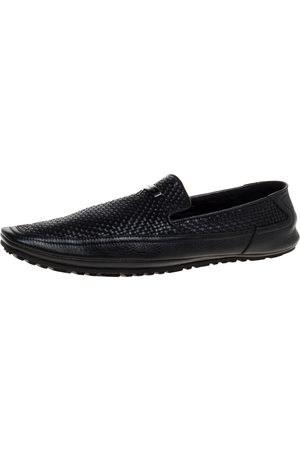 VERSACE Black Woven Leather Slip On Loafers Size 40
