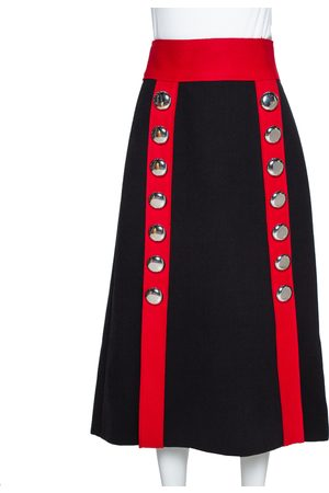 Dolce & Gabbana Black and Red Stretch Wool Button Detail Midi Skirt S