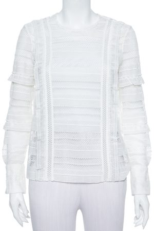 Self-Portrait White Paneled Lace Sheer Long Sleeve Top S
