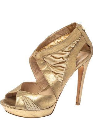 Fendi Metallic Beige Leather and Fabric Platform Sandals Size 40