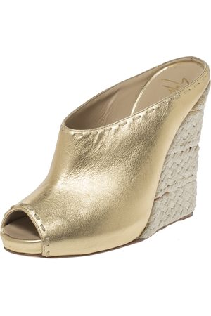 Giuseppe Zanotti Gold Leather Espadrille Wedge Peep Toe Mules Size 37