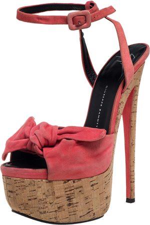 Giuseppe Zanotti Pink Suede Bow Platform Ankle Strap Sandals Size 38