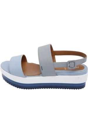 Fendi Blue/Grey Nappa Leather Platform Heel Sandals Size EU 39