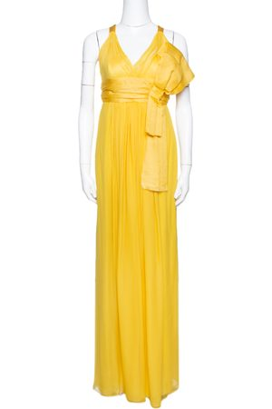 Dolce & Gabbana Yellow Silk Bow Detail Sleeveless Maxi Dress M