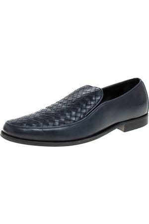 Bottega Veneta Navy Blue Intrecciato Leather Slip On Loafers SIZE 44.5