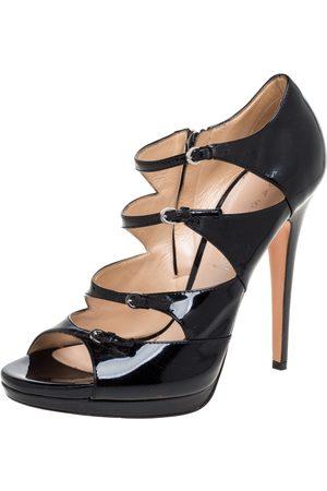 Casadei Black Patent Leather Strappy Platform Sandals Size 39.5
