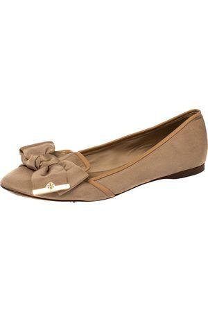 Tory Burch Beige Fabric Bow Ballet Flats Size 39