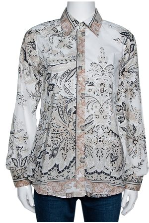 Etro Beige Paisley Print Stretch Cotton Long Sleeve Shirt M