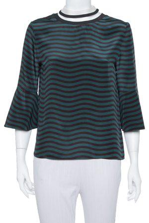 Fendi Dark Green & Black Wave Striped Silk Sheer Turtleneck Top S
