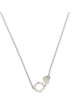 Mont Blanc Star Heart Charm Diamond 18K White Gold Necklace