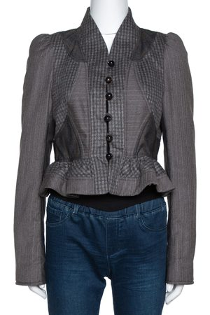 Kenzo Grey Wool Patched Peplum Jacket M