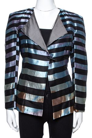 Armani Multicolor Striped Jacquard Toggle Button Jacket S
