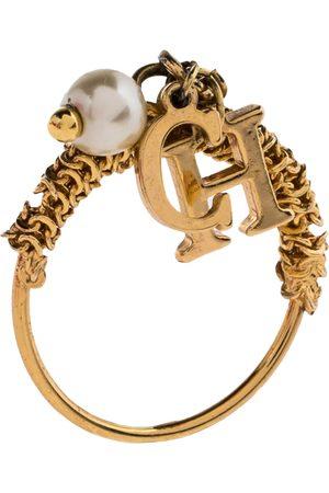 CH Carolina Herrera Gold Tone Logo Charms Ring Size EU 50.5