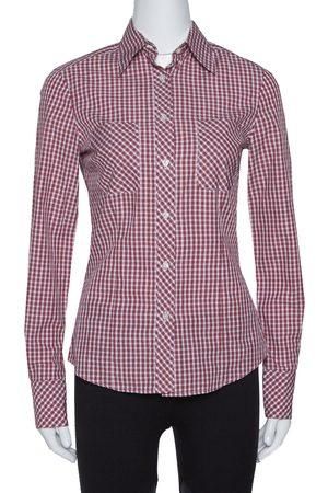 CH Carolina Herrera Red Checked Cotton Long Sleeve Shirt S