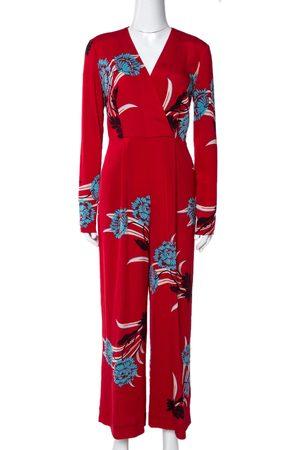 Diane von Furstenberg Red Floral Print Crepe Farren Jumpsuit S