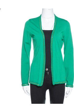 CH Carolina Herrera Green Knit Metal Detail Open Front Cardigan S