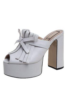 Nº21 White Leather Fringed Platform Mule Sandals Size 38.5