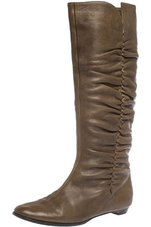 Jimmy Choo Brown Leather Pleat Detail Knee High Boots Size 38.5
