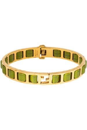 Fendi Sta Logo Green Woven Leather Gold Tone Bangle Bracelet