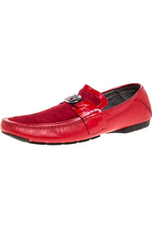VERSACE Red Leather and Suede Medusa Detail Slip On Loafers Size 45
