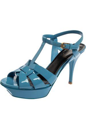 Saint Laurent Saint Laurent Blue Patent Leather Tribute Ankle Strap Platform Sandals Size 39.5