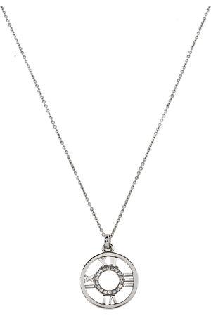 Tiffany & Co. Atlas Diamond 18K White Gold Roman Numeral Pendant Necklace