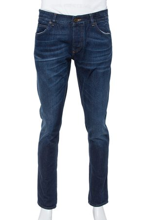 Dolce & Gabbana 14 Gold Blue Denim Straight Leg Jeans XL