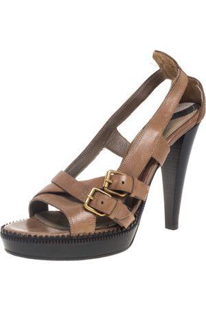 Burberry Beige Leather Slingback Platform Sandals Size 39