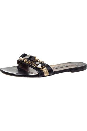 Gina Black Leather Crystal Embellished Flat Slides Size 39