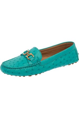 Salvatore Ferragamo Turquoise Ostrich Leather Saba Loafers Size 40.5