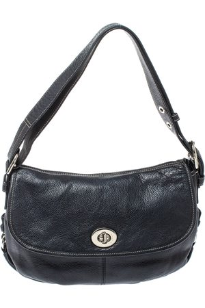 Coach Black Leather Duffel Flap Hobo