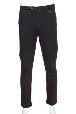 Dolce & Gabbana Black Stretch Cotton Contrast Trim Slim Fit Trousers XXL