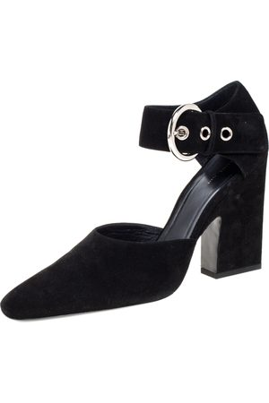 Céline Céline Black Suede Ankle Cuff Square Toe Sandals Size 40