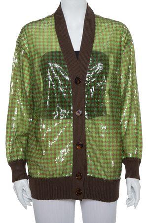 Fendi Green Tulle Sequin Embellished V- Neck Cardigan S
