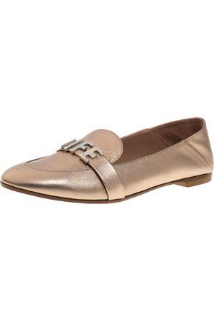 Aquazzura Metallic Bronze Leather Love Life Slip On Loafers Size 37