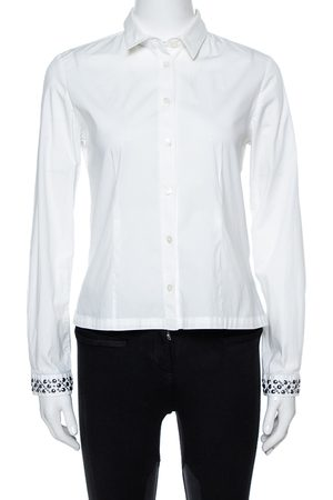 Burberry Brit White Cotton Studded Cuff Long Sleeve Shirt S