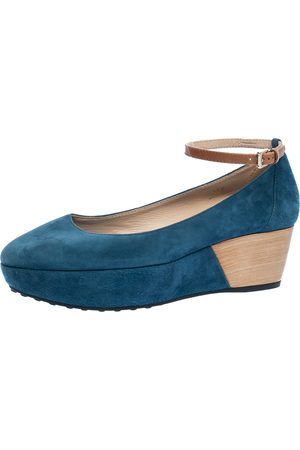 Tod's Blue Suede Ankle Strap Platform Wedge Pumps Size 38.5
