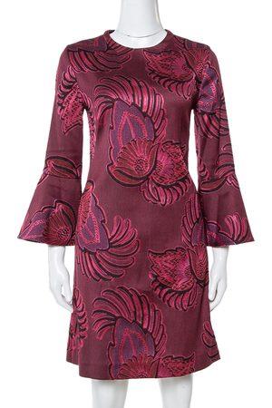 Stella McCartney Burgundy Floral Jacquard Wool Long Sleeve Dress M