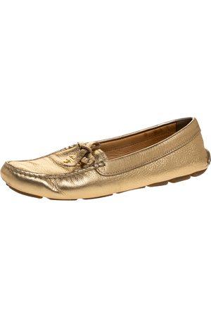 Prada Metallic Gold Leather Bow Slip On Loafers Size 37.5