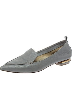 Nicholas Kirkwood Grey Leather Botalatto Flat Loafers Size 35.5