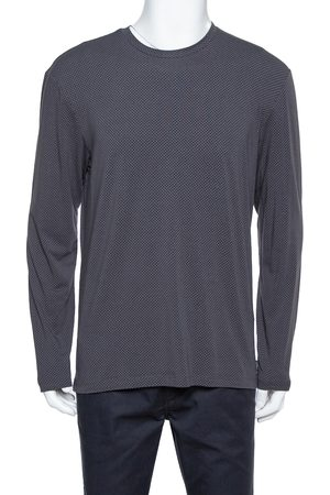 Armani Dark Grey Chevron Pattern Knit Long Sleeve Crew Neck T-Shirt XL