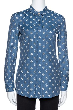 Burberry Brit Blue Printed Cotton & Silk Long Sleeve Shirt XS